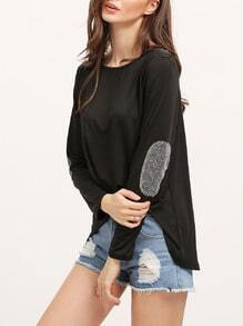 Black Dip Hem Sequined Top