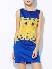 Blue Round Neck Sleeveless Embroidered Dress