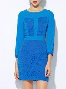 Blue Round Neck Length Sleeve Hollow Dress