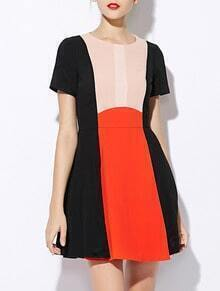 Black Orange Round Neck Short Sleeve Flare Dress