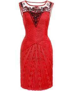 Red Round Neck Sleeveless Sequined Embroidered Dress