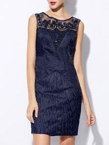 Navy Round Neck Sleeveless Sequined Embroidered Dress