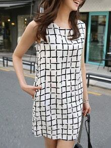 White Plaid Chiffon Shift Dress