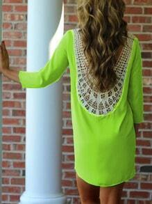 Neon Green Lace Crochet Shift Dress