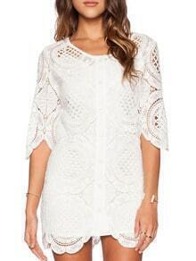 White Half Sleeve Hollow Scalloped Hem Lace Dress