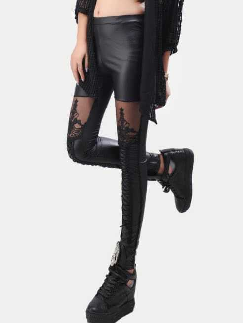 Black Lace Insert Embroidered Leggings