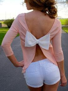 Pink Open Back Bow Top