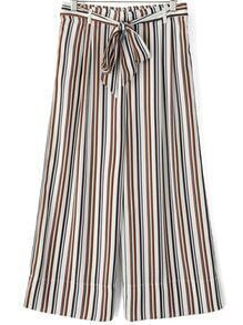 Multicolor Tie-waist Vertical Stripe Wide Leg Pant
