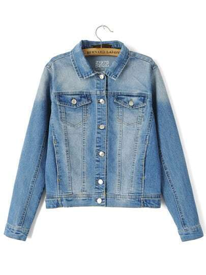 Blue Lapel Bleached Buttons Denim Coat pictures