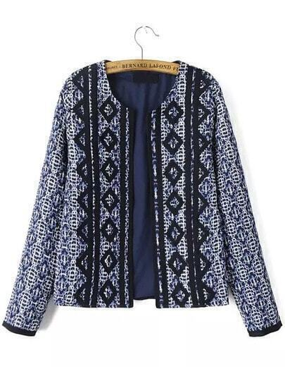Blue Long Sleeve Tribal Embroidered Coat