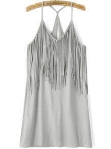 Grey Spaghetti Strap Tassel Cami Dress