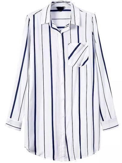 White Lapel Vertical Stripe Pocket Blouse