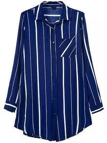 Blue Lapel Vertical Stripe Pocket Blouse