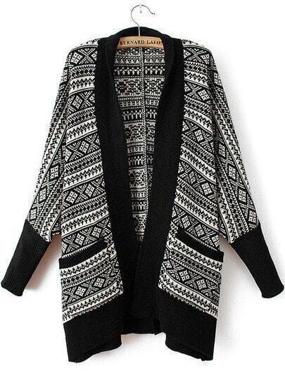 Black Long Sleeve Geometric Print Knit Cardigan