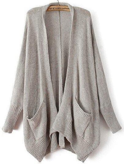 Grey Long Sleeve Pockets Knit Cardigan