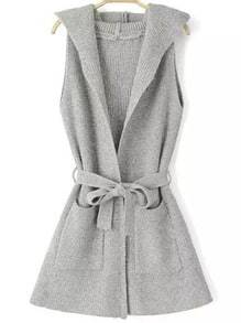 Light Grey Hooded Sleeveless Tie-waist Knit Sweater