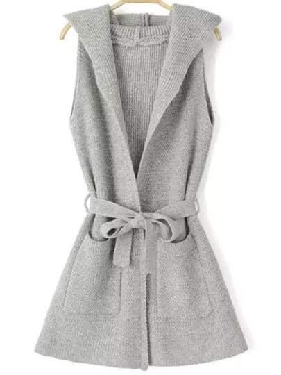Light Grey Hooded Sleeveless Tie-waist Knit Sweater