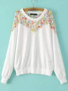 White Round Neck Floral Lace Loose Sweatshirt
