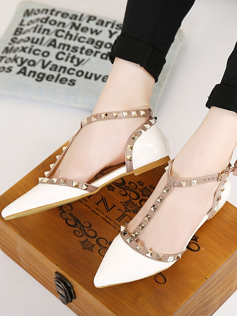 White Point Toe Rivet Flats