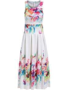 Multicolor Sleeveless Backless Floral Pleated Dress