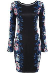 Black Round Neck Long Sleeve Floral Bodycon Dress