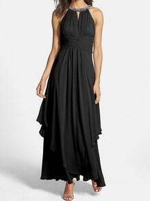 Black Bead Halter Chiffon Rhinestone Maxi Dress
