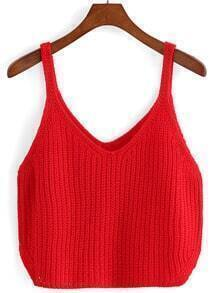 Red Spaghetti Strap Knit Cami Top