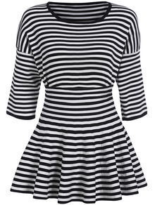 Black White Round Neck Striped Top With Skirt