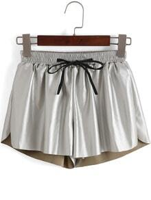 Silver Drawstring Waist PU Shorts