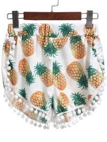 Multicolor Pineapple Print Tassel Shorts