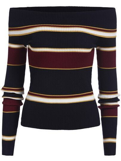 Multicolor Boat Neck Striped Slim Knit Sweater