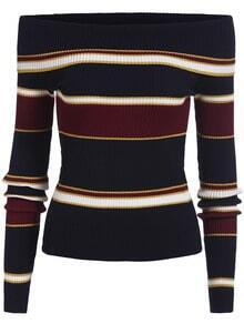 Multicolor Boat Neck Striped Slim Knit Sweater