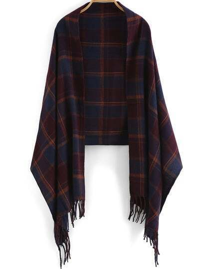 Red Purple Plaid Tassel Scarve