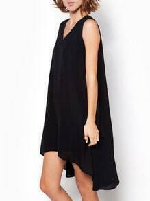 Black V Neck Backless High Low Dress