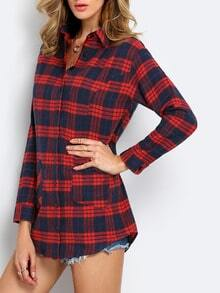 Red Long Sleeve Lapel Grid Plaid Blouses Dress