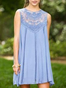 Blue Sleeveless Crochet Lace Dress