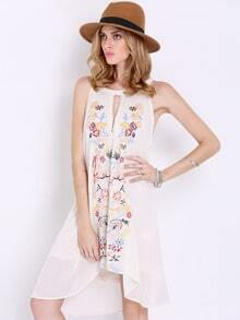 Apricot Sleeveless Floral Embroidered Dress