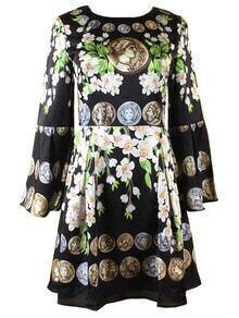 Black Round Neck Bell Sleeve Vintage Print Dress