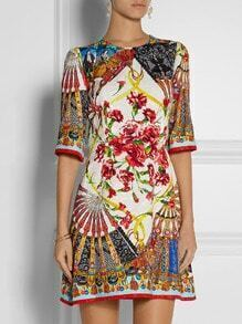 Multicolor Round Neck Half Sleeve Vintage Print Jacquard Dress