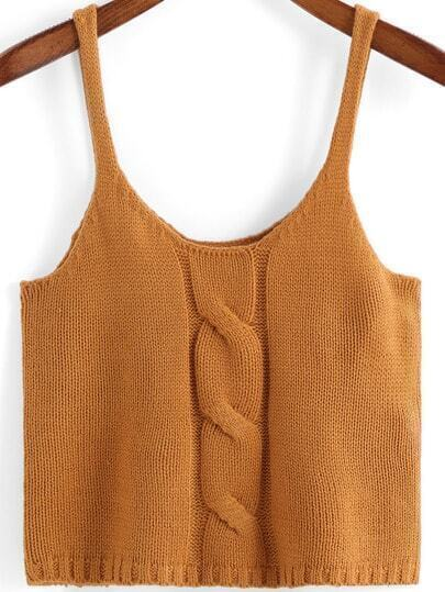 Khaki Spaghetti Strap Cable Knit Cami Top