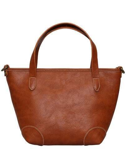 Brown Zipper PU Shoulder Bag
