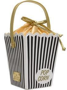 Black And White Pinstriped Drawstring Bag