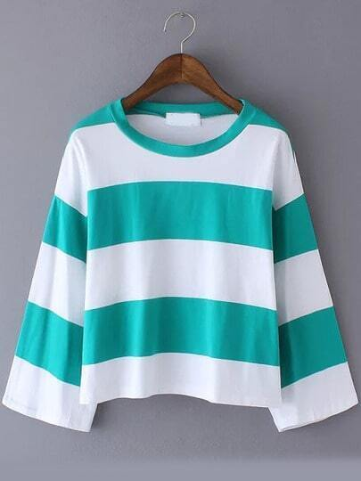 Green Striped Crop T-Shirt