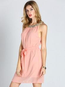 Pink Spaghetti straps Ruched Dress