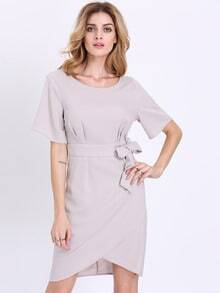 Grey Short Sleeve Asymmetric Dress