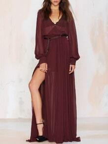 Wine Red Long Sleeve Split Maxi Dress