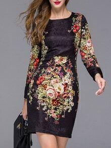 Black Round Neck Long Sleeve Jacquard Floral Print Dress