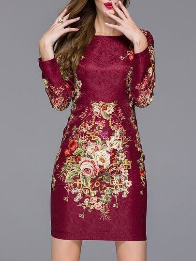 Red Round Neck Long Sleeve Jacquard Floral Print Dress