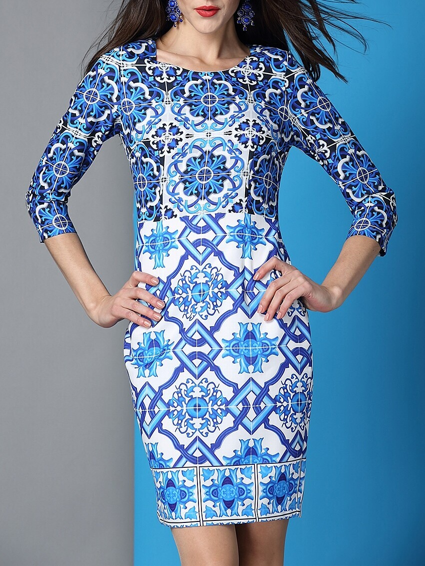 White and Blue Porcelain Round Neck Length Sleeve Dress