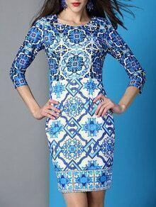White and Blue Porcelain Round Neck Length Sleeve Dress